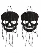 Halloween Hängedekoration Totenkopf schwarz 63 cm