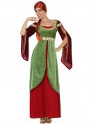 Mittelalter-Damenkostüm Burgfräulein grün-rot
