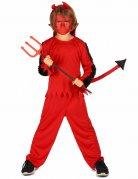 Kleiner Teufel Kinderkostüm mit Plüschärmeln rot-schwarz