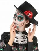 Dia de los Muertos Zylinder mit Totenkopf in Rose Halloween-Accessoire schwarz-rot-weiss