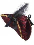 Piratin-Hut Dreispitz mit Spitze und Feder Kostüm-Accessoire rot-schwarz-gold