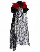 Dia de los Muertos Kopfschmuck mit Rosen und Schleier schwarz-rot