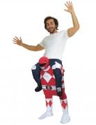 Power Rangers™ Carry-Me Kostüm von Morphsuits™ für Erwachsene rot