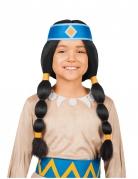 Regenbogen-Indianerperücke Yakari™-Perücke schwarz-blau-gelb