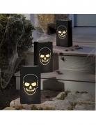 Totenkopf-Papierlaternen Halloween-Beleuchtung 6 Stück schwarz 28x15x9cm