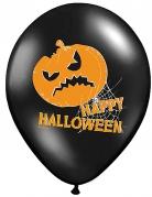 Kürbis-Ballons Happy Halloween 6 Stück schwarz-orange 30cm