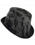 Halloween-Hut mit Spinnenweben schwarz-grau
