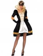Sexy Barock-Kostüm für Damen schwarz-weiss-gold