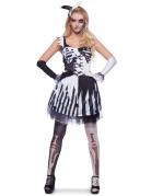 Skelett-Harlekin-Kostüm für Damen Halloween-Damenkostüm schwarz-weiss