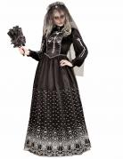 Tag der Toten Skelettdame mit Trauerschleier Halloween-Damenkostüm schwarz-weiss