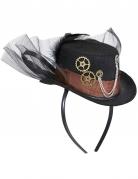 Steampunk-Hut mit Schleier für Erwachsene schwarz