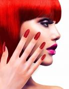 Künstliche Fingernägel selbstklebend 12 Stück rot giltzernd