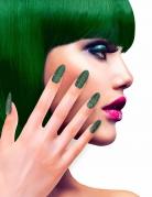Künstliche Fingernägel selbstklebend 12 Stück grün glitzernd