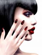 Blutige Kunst-Fingernägel Halloween-Accessoire schwarz-rot