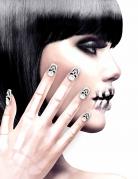 Halloween-Fingernägel mit Totenkopf-Motiv weiss-schwarz
