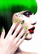 Halloween-Fingernägel mit Fledermaus-Motiv grün-schwarz