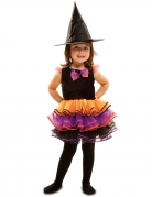 Halloween Kinderkostüm Hexe schwarz-lila-orange