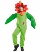 Blumen-Kostüm für Kinder hellgrün mit Kapuze in Blütenoptik