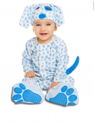 Gepunktetes Hundekostüm für Babys Welpenkostüm weiss-blau