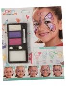 Schminkpalette Schmetterlings-Motiv 4-teilig weiss-lila-pink