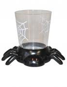 Halloween Becher mit Spinnenhalterung 7 cm schwarz-transparent