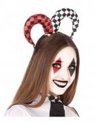 Harlekin-Haarschmuck für Damen Clown-Accessoire rot-weiss-schwarz