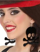 Piraten-Ohrringe Totenschädel-Ohrringe 2 Stück schwarz