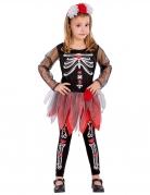 Kostüm Skelett Mädchen rot-schwarz