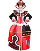 Herzköniginkostüm für Damen schwarz-weiss-rot