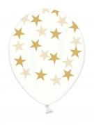 Latexballons mit Sternen 6 Stück transparent-gold