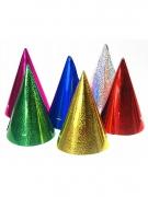 Lustige Partyhüte im Metallic-Look 20 Stück bunt 10 cm