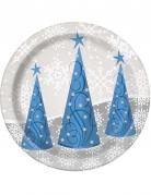 Weihnachts-Pappteller Schneeflocken und Rentiere 8 Stück 18 cm