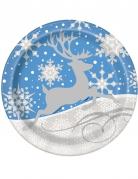 Weihnachts-Pappteller Schneeflocken und Rentiere 8 Stück weiss-blau 23cm