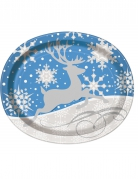 8 große Weihnachtsteller Schneeflocken & Rentier oval 25 x 31 cm