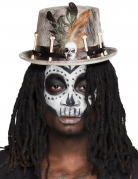 Knochen-Hut Halloween-Zylinder im Voodoo-Stil grau