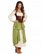 Mittelalterliche Schankwirtin Damenkostüm beige-braun-grün