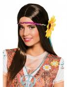 Hippie-Perücke mit Stirnband und Sonnenblume braun-bunt