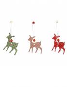 Weihnachtliche Rehe Weihnachtsdeko 3 Stück rot-grün-weiss 7,5cm
