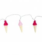 Leuchtende Eistüten-Girlande braun-rosa-beige