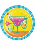 8 kleine Pappteller Cocktail gelb und blau 18 cm