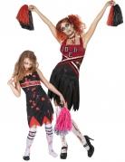 Zombie-Cheerleader Paarkostüm für Mutter und Tochter schwarz-rot