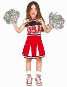 Süsse Cheerleaderin-Kostüm für Mädchen schwarz-rot-weiss