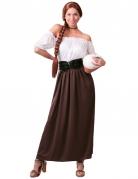 Wirtin-Damenkostüm Mittelalter weiss-braun