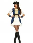 Sexy Piratinnen-Kostüm blau-weiss-gold