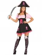 Süsse Piratin Damenkostüm schwarz-pink