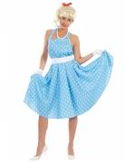 Rockabilly-Kleid mit Punkten 50er-Jahre Damenkostüm hellblau-weiss