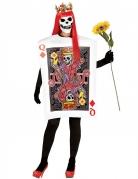 Skelett-Kartenkostüm Dame Karo Halloween rot-weiß
