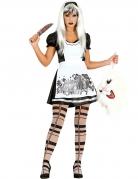 Dunkle Alice Halloween-Damenkostüm schwarz-weiss