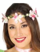 Blumenkranz mit Lichtern für Erwachsene grün rosa