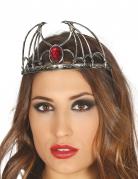 Tiara der bösen Königin Vampir-Accessoire silber-rot